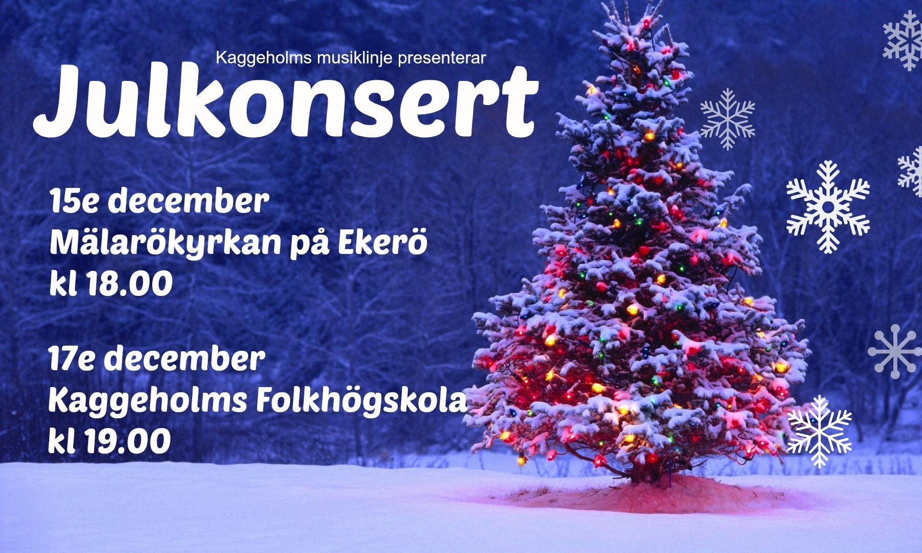 Julkonserter med Musiklinjen den 15 och 17 december
